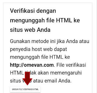Verifikasi domain dengan unggah file html