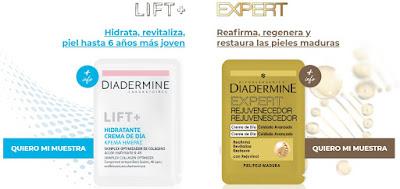 Pide muestras gratis Diadermine Lift+ o Diadermine Expert Rejuvenecedor