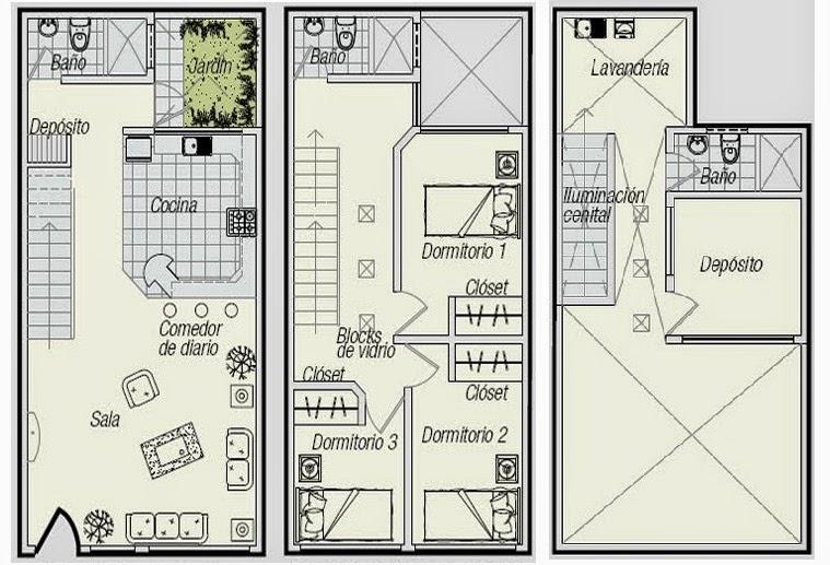 Planos Casas Modernas Plano Casa 3 Niveles Pequena - Planos-de-casas-de-una-planta-pequeas