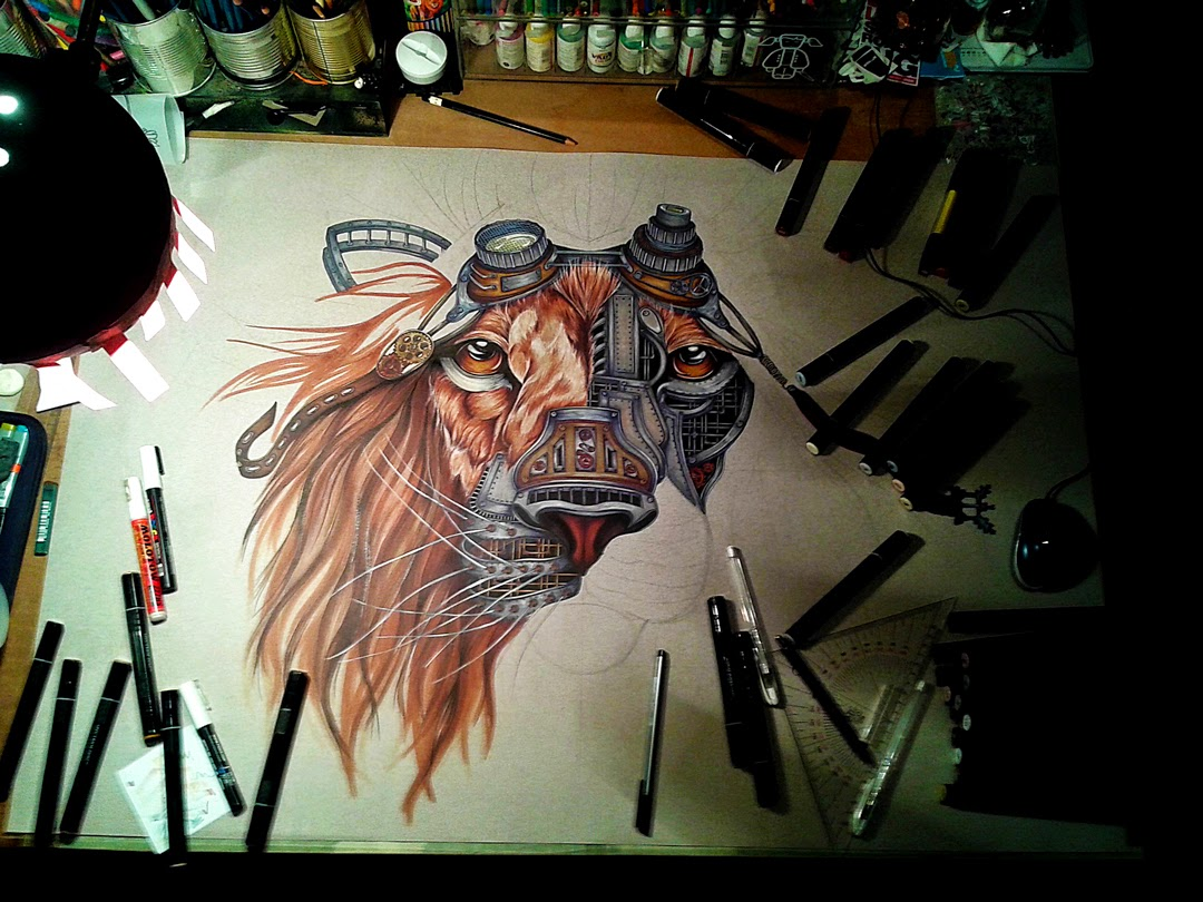 04-Steampunk-Lion-Paula-Duță-Drawing-Animals-Steampunk-Clothing-www-designstack-co
