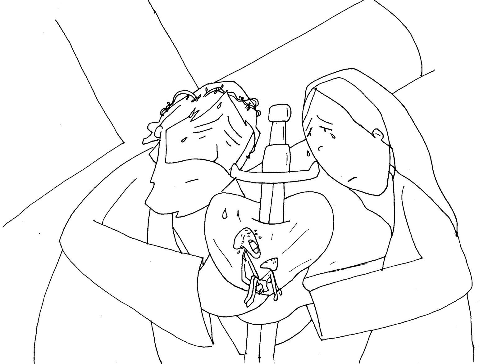 Camino hacia la pascua viacrucis para colorear con - Dibujos en la pared infantiles ...