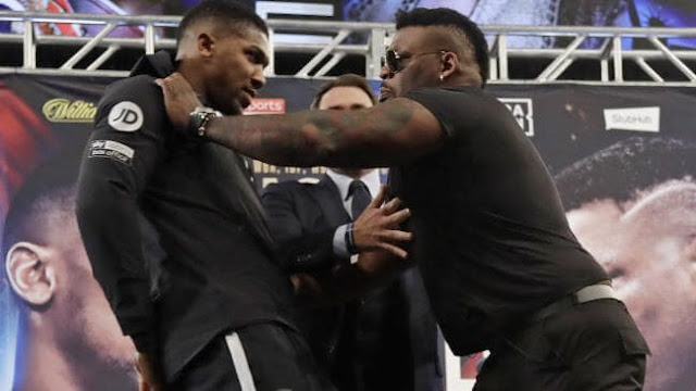 Jarrell Miller Shoves Anthony Joshua During Press Conference