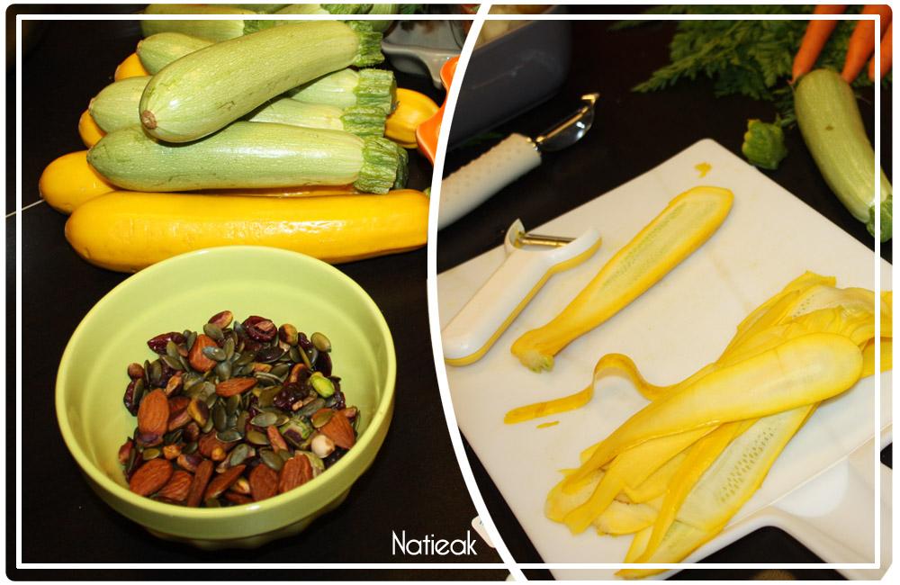 salade avec des fruits secs et courgettes