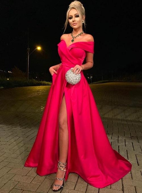 vestido longo pink com fenda