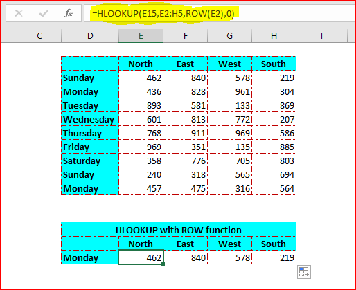 ROW function in HLOOKUP function