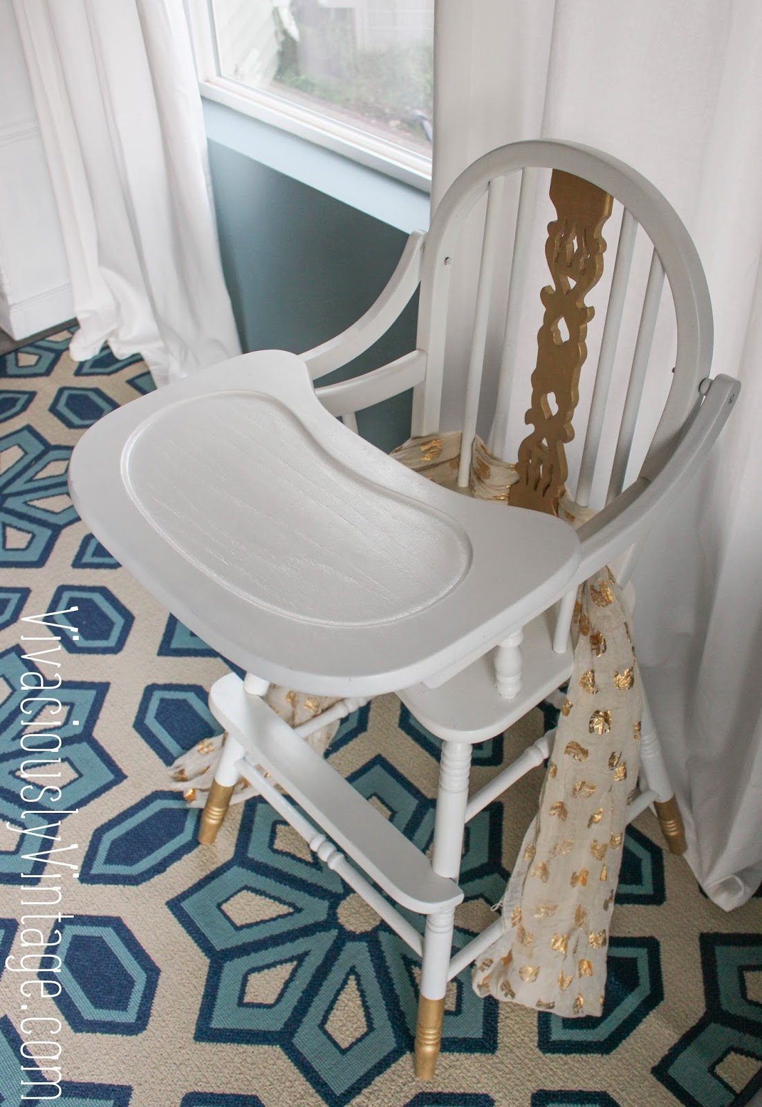 White Wood High Chair Ansley Designs Gold And White Vintage Painted Wooden High