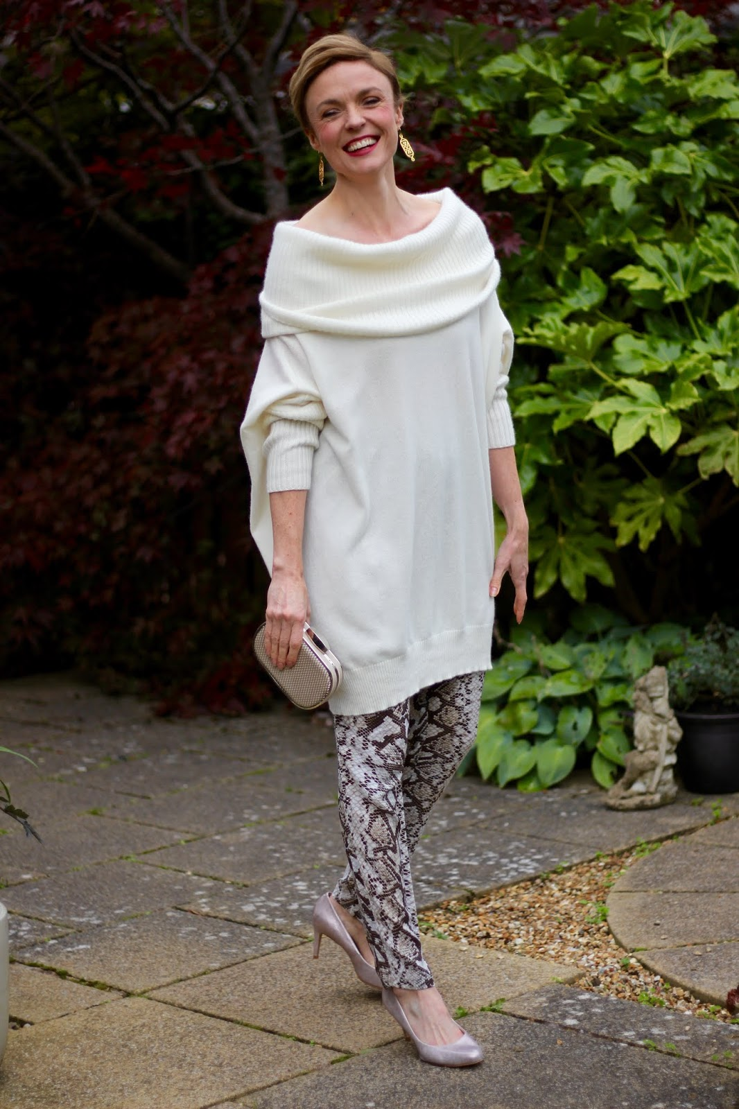 Oversized Winter White Cashmere Jumper & Snake Joggers | Fake Fabulous