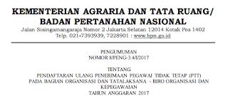 Lowongan Kerja Non PNS Terbaru Kementerian Agraria dan Tata Ruang Republik Indonesia Tahun 2017