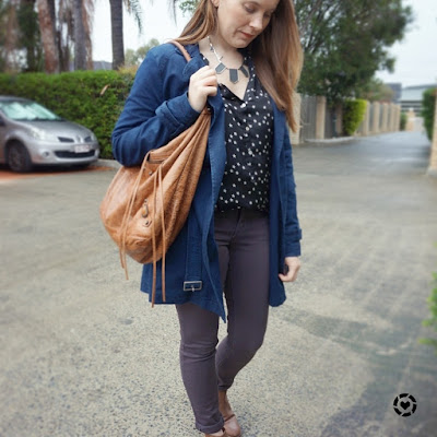awayfromblue instagram star print shirt grey pants navy mac office wear rainy spring