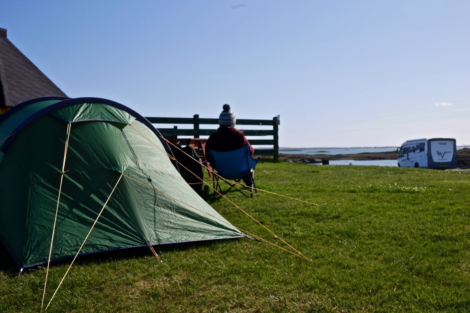 Camping in Benbecula, Scotland, Almost Chic and Cal McTravels during their Scottish Island Hopping in the outer Hebrides