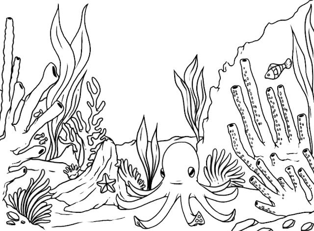 Gambar Mewarnai Pemandangan Bawah Laut - 3