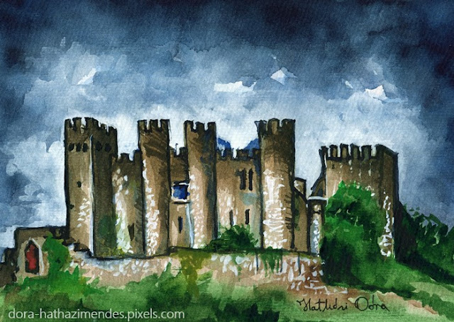 Medieval Castle Before Storm watercolor painting by Dora Hathazi Mendes