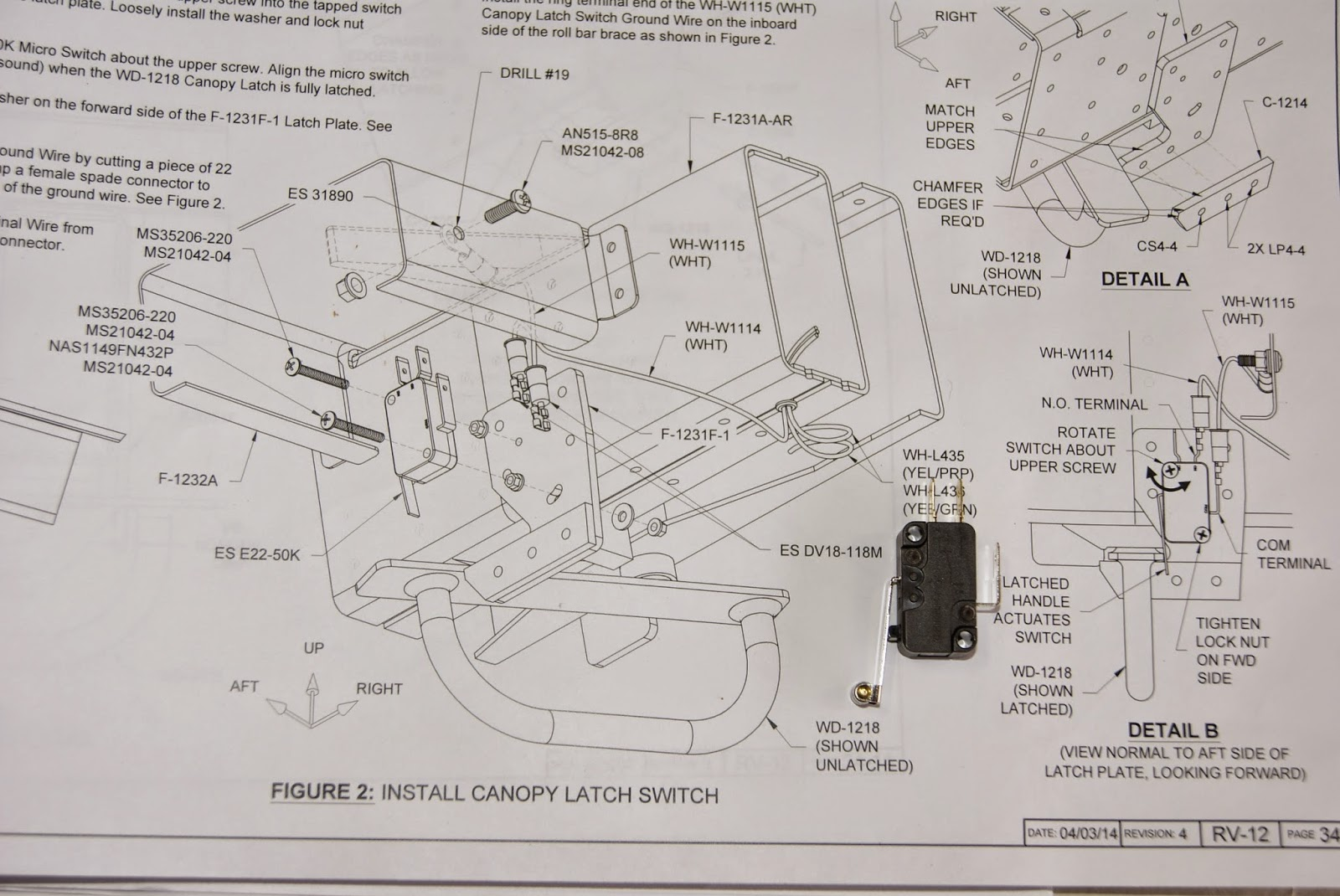 Dog Aviation John S Rv 12 Blog Canopy Latch Micro Switch