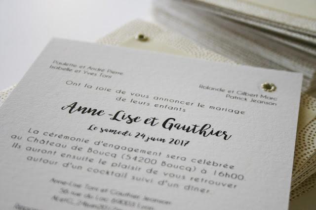 faire-part mariage simple et délicat chic et élégant couronne d'olivier sur mesure logo des mariés savoir faire artisanal made in france made in lyon fait à la main en france à lyon