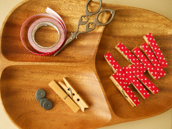 DIY Deco fabric tape clothespin magnet tutorial
