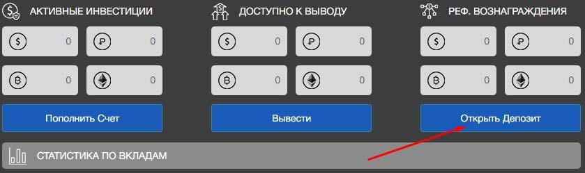 Создание депозита в BitWat