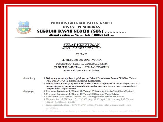 Contoh SK Peneriman Peserta Didik baru Tahun 2017/2018