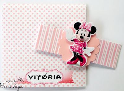 convite aniversário artesanal infantil personalizado minnie mouse mickey disney poá bolinhas rosa bebê branco pink