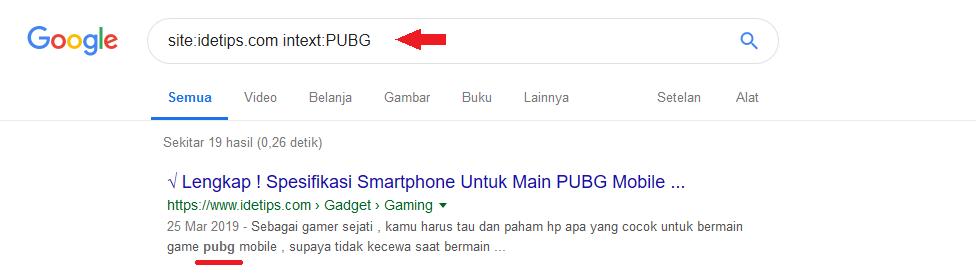 contoh pengunaan dork pada google