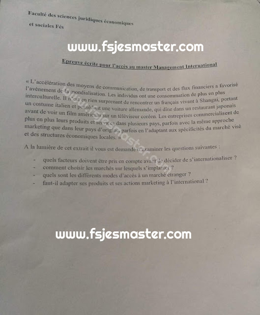 Exemple Concours Master Management International - Fsjes Fes
