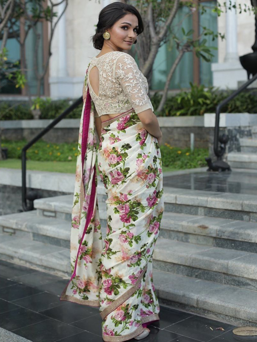 Andrea Jeremiah Looking Hot In Floral Saree Pics