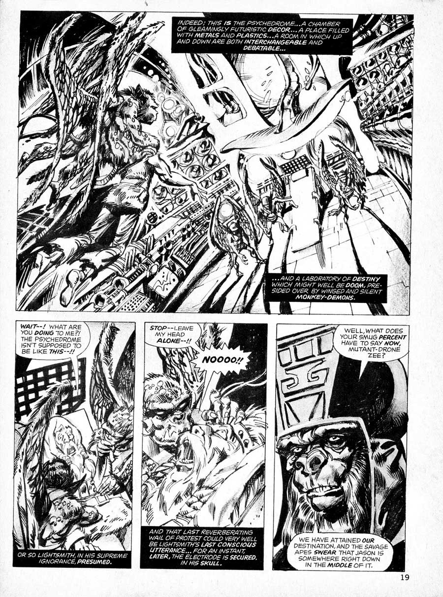 Planet of the Apes v1 #19 curtis magazine page art by Mike Ploog