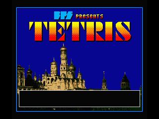 Pantalla de título de Tetris para MSX, 1988 (Bullet-Proof Software)