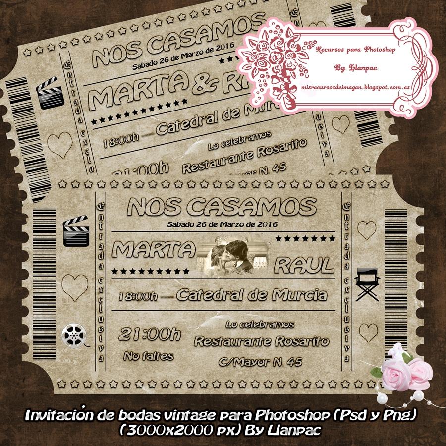 Recursos Photoshop Llanpac: Tarjeta Vintage para invitaciones de ...