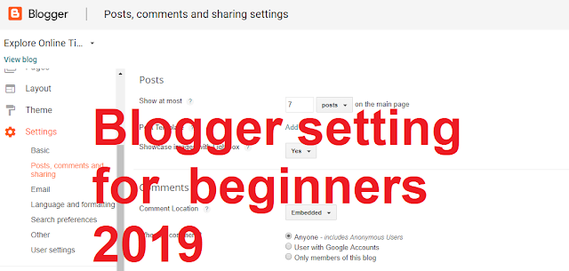 Blogger setting for beginners in 2019