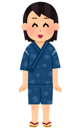 甚平を着た人のイラスト(女性)