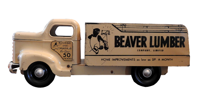 One of the smaller minnitoy trucks, this one with Beaver Lumber logos.