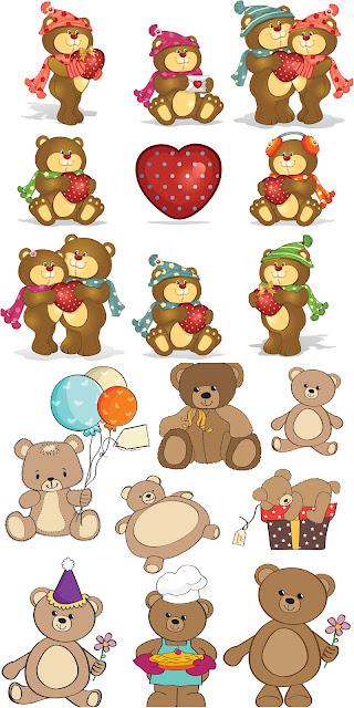 17 vectores de osos en dibujo animado
