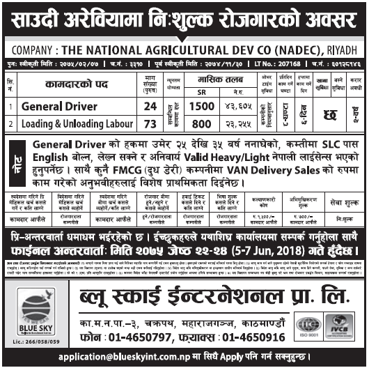 Jobs in Saudi Arabia for Nepali, Salary Rs 43,605