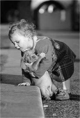 Bebe cargando tiernamente un cachorro