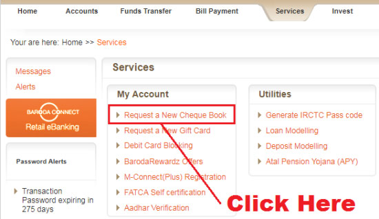 how to apply for new cheque book in bank of baroda