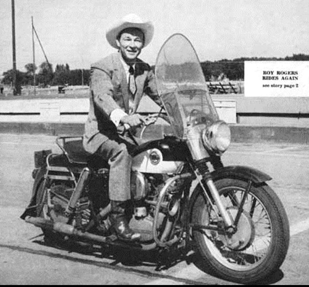 ebebc31e1 Roy Rogers rode out to Hollywood in the early 30's on a motorcycle when  times were bad and transportation costs were high. He took a liking to the  sport, ...