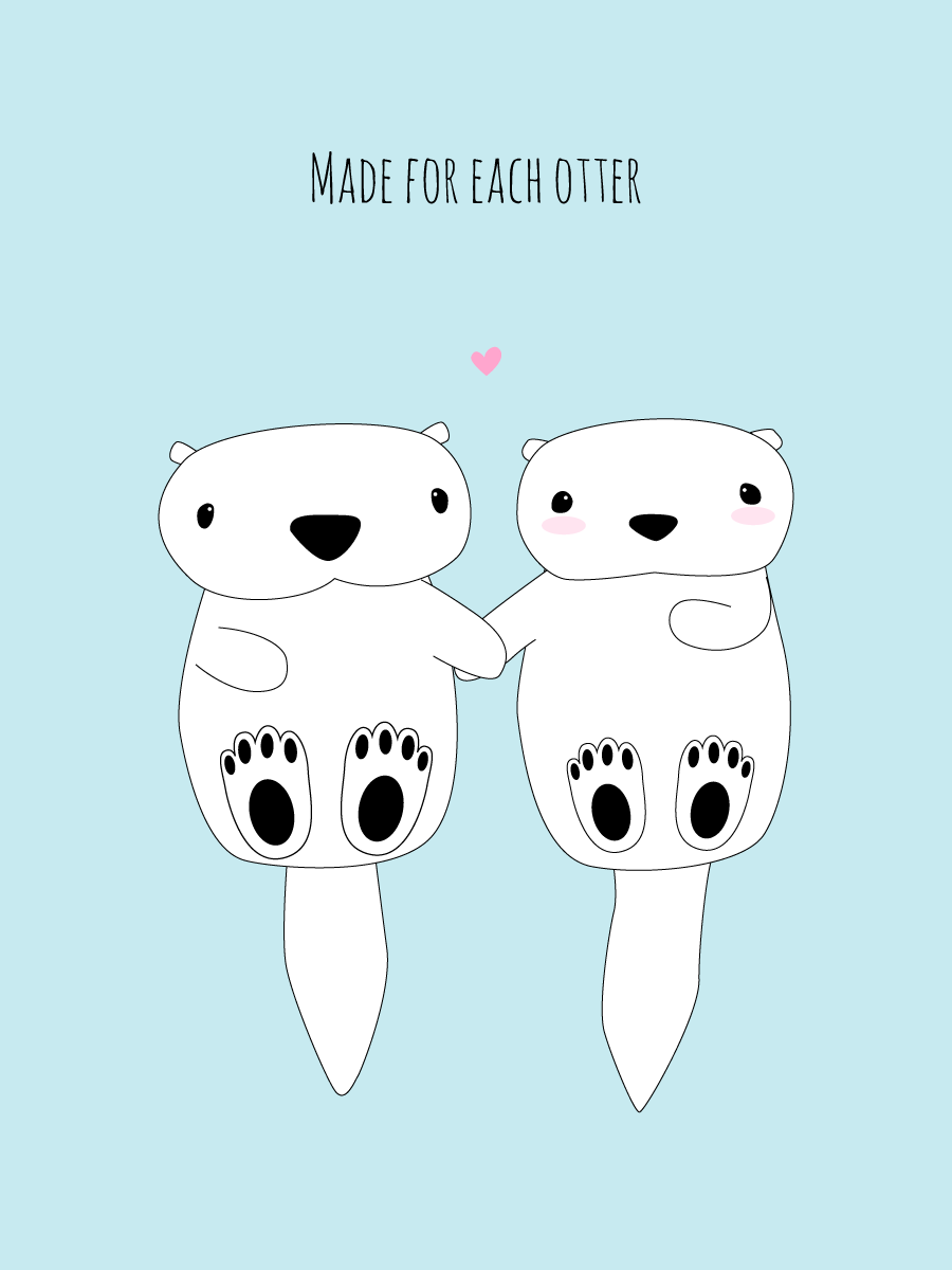 we were made for each otter ecard valentine
