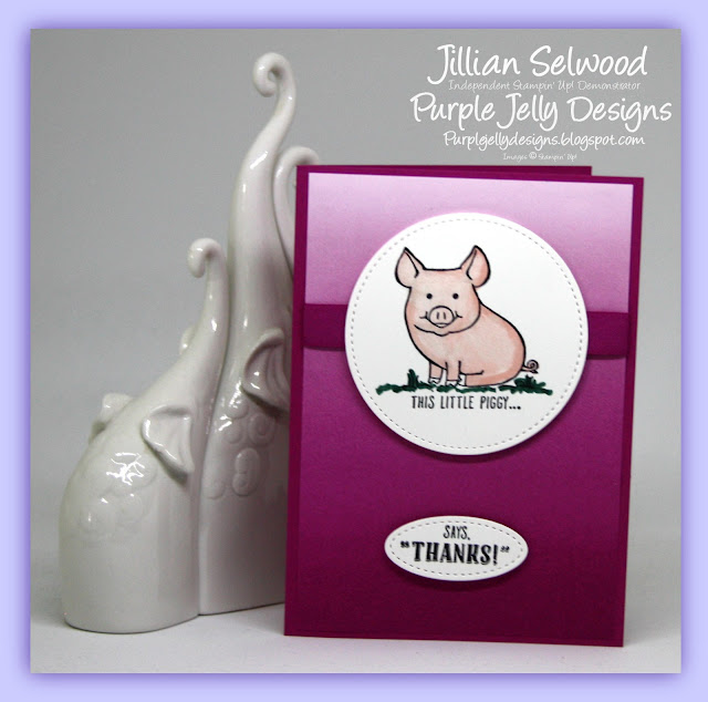 Thank you card, This little Piggy stamp set, 17-19 In Colours
