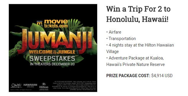 Jumanji Welcome To The Jungle Sweepstakes