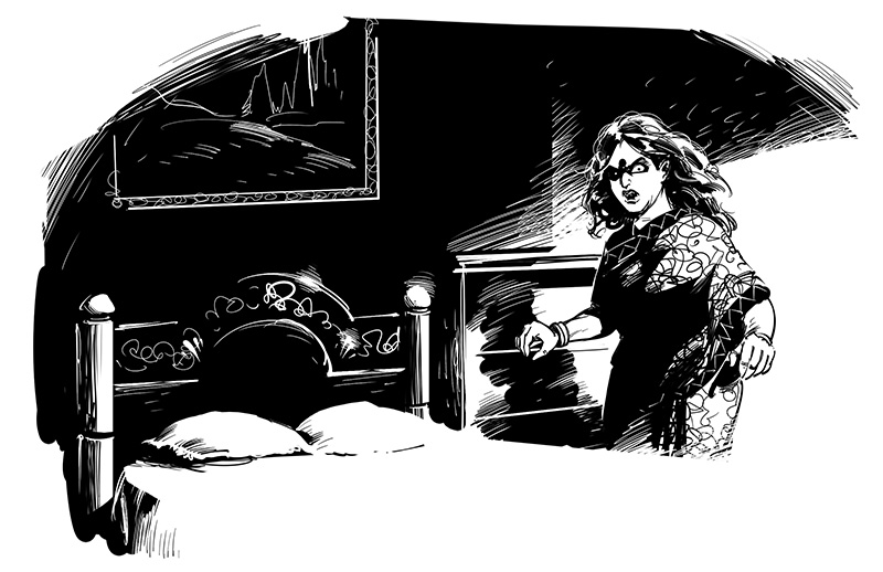 horror ghostly woman in dark room illustration