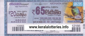 Kerala lottery result of Akshaya _AK-159 on 15 October 2014