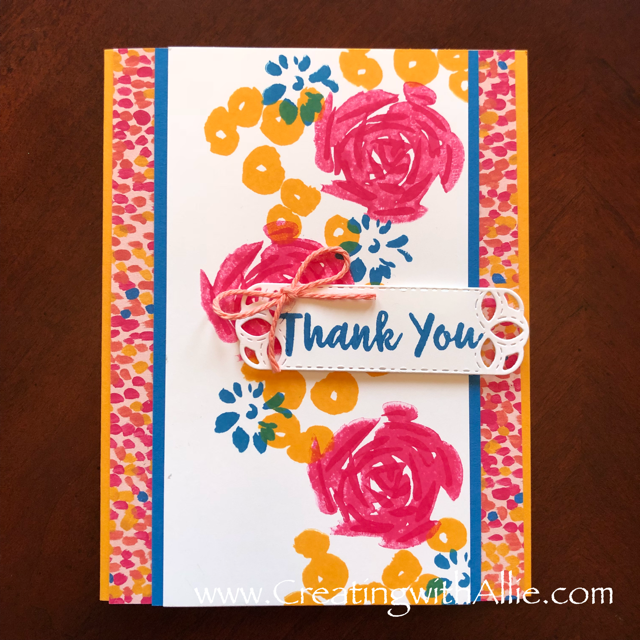 Check out the video tutorial showing you how to make a quick and easy card, where I show you tips and tricks for using Stampin Up's Abstract impressions stamp setl!  You'll love how quick and easy this is to make!  www.creatingwithallie.com #stampinup #alejandragomez #creatingwithallie #videotutorial #cardmaking #papercrafts #handmadegreetingcards #fun #creativity #makeacard #sendacard #stampingisfun #sharewhatyoulove #handmadecards #friendshipcards