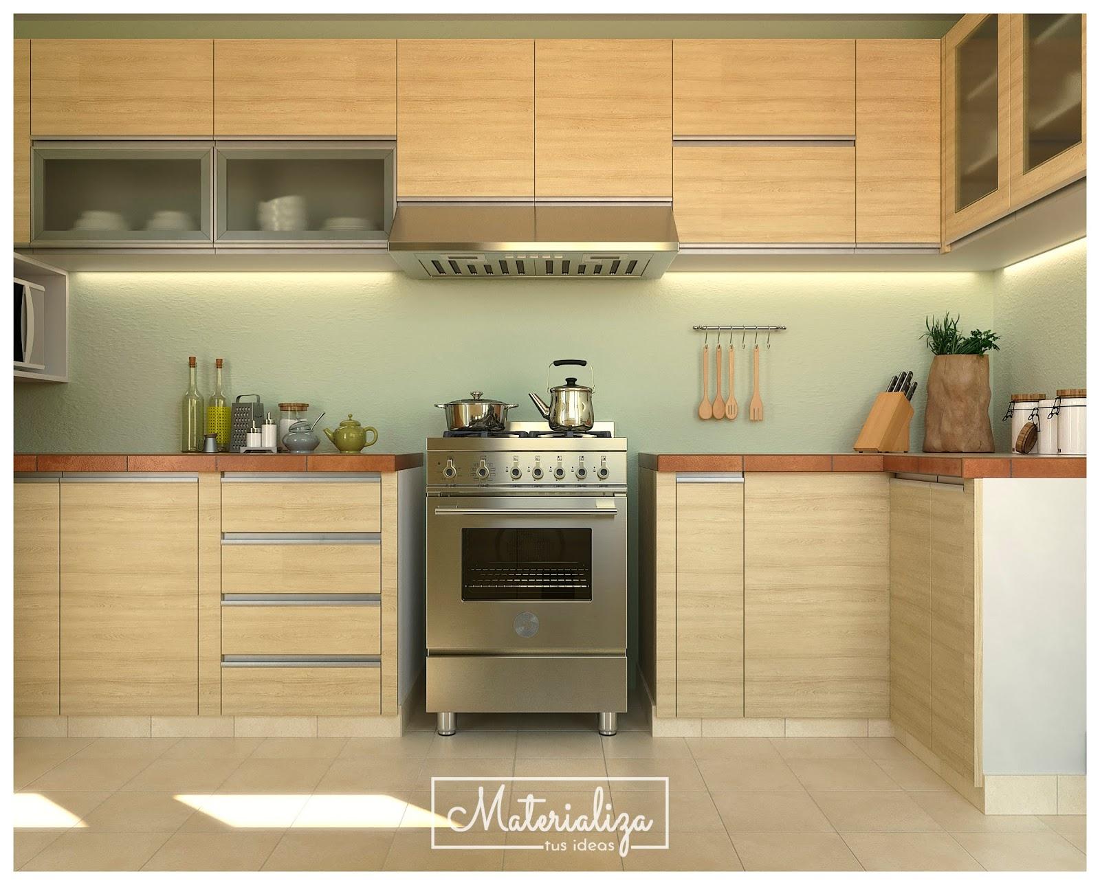 Mueble cocina en melamina carvalo for Muebles cocina melamina