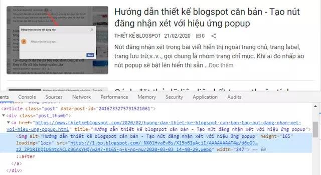 Tìm hiểu thuộc tính width/height của thẻ dữ liệu hình ảnh bài viết blogspot