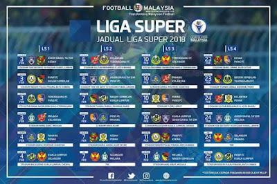 Jadual Perlawanan Selangor Liga Super 2018