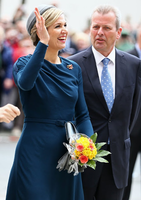 King Willem Alexander and Queen Maxima visit Nuremberg, Germany. Queen Maxima wore Claes Iversen coat