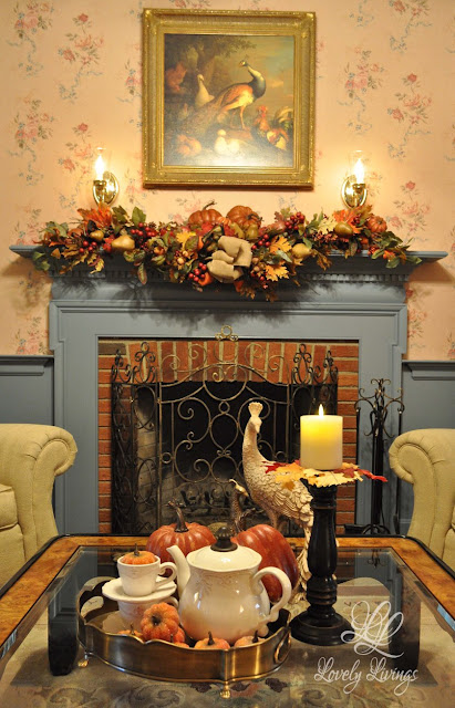 Lovely Things- Fall Mantel-Treasure Hunt Thursday- Blog Link Up Party- From My Front Porch To Yours
