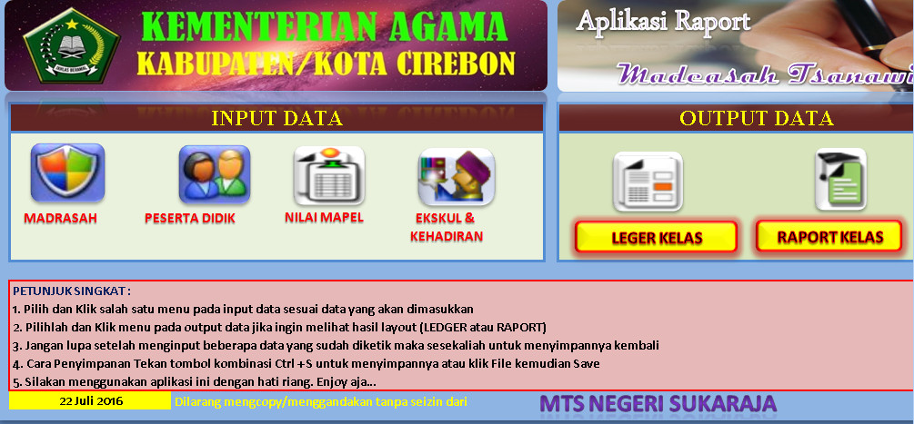 Software Raport MTsn Kurikulum 2013 Versi 04 Permedikbud 104 Th 2016 Aplikasi Excel Free Download