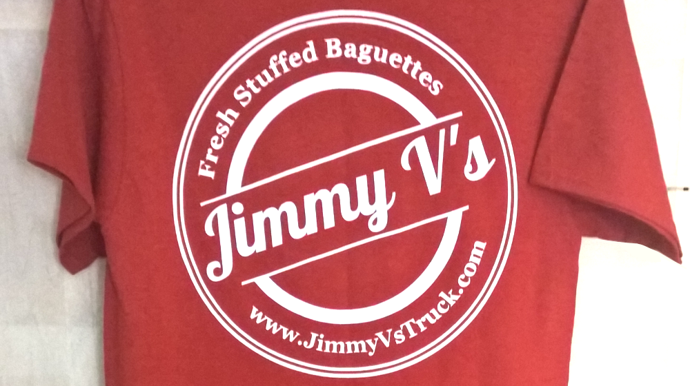 Back of a Branded Jimmy Vs Custom T Shirt