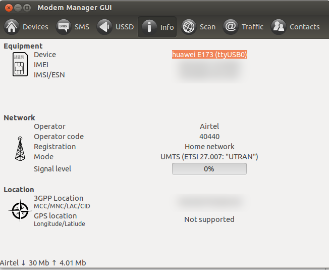 Modem Manager GUI - Device Information